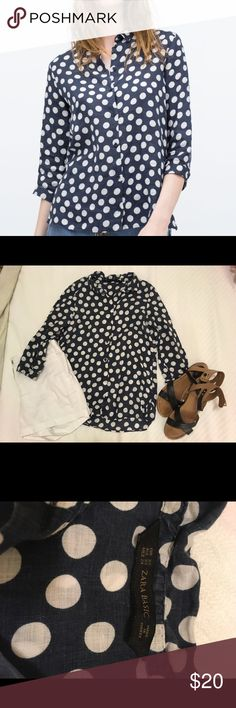 Zara printed linen shirt Worn but still in good condition. Adorable polka dot pattern linen fabric. Some slight crinkling on edges due to washing but still in solid form. Zara Tops Button Down Shirts
