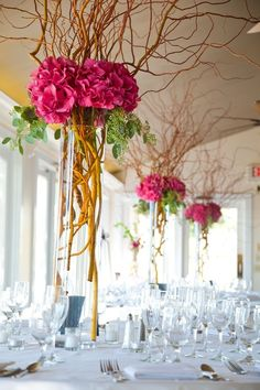 Centerpieces Pink Hydrangea, seeded eucalyptus and curly willow branches