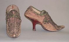 Slippers, 1720-39, French, leather, silk. Metropolitan Museum of Art.