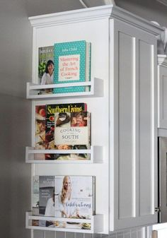 Kitchen storage is easy to add when you put simple Ikea shelves on the side of your kitchen cabinets. Be sure to paint them to match your shelves first. in kitchen storage Kitchen storage is easy with the addition of Ikea shelves.