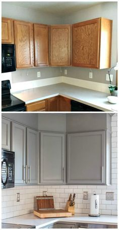 A builder grade kitchen gets a new look with classic features like gray cabinets, Quartz counters and subway tile. Before and after is amazing!