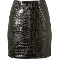Saint Laurent Black Crocodile Embossed Leather Mini Skirt (8.785 RON) ❤ liked on Polyvore