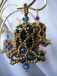 Country Blue with Gold Lattice Beading.