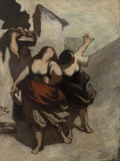 Honoré Daumier (French, 1808–1879)    The Ribalds (Les Ribaudes) c.1848–1849    Oil on canvas, 50 3/4 x 38 inches    Barnes Foundation