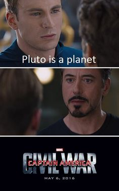 civil-war-meme; Pluto will always be the ninth planet in my heart.