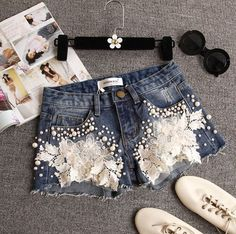 Lace Flowers Denim Fashion Shorts, Item Type:Bottoms Material:Cotton Pattern:Solid Color Style:Fashion Color:Photo Color XS (US size) Bust: Waist: Hips: S (US siz. Lace Jeans, Diy Jeans, Denim And Lace, Denim Shorts, Denim Purse, Sexy Shorts, Diy Clothing, Sewing Clothes, Short Outfits