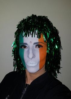 Irish flag face painting St. Patrick's Day makeup idea