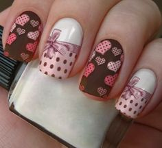 Nail Polish Style, Nail Polish Designs, Nail Art Designs, Heart Nail Designs, Beautiful Nail Designs, Luv Nails, Nail Art Stencils, Valentine Nail Art, Great Nails