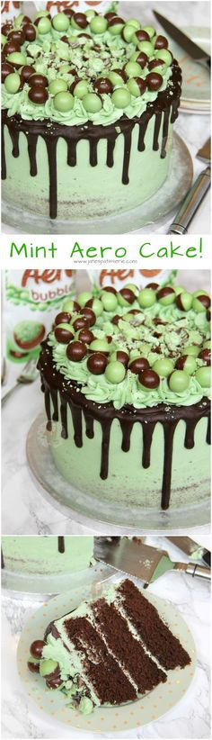 Mint Aero Cake! ❤️ A Three Layer Chocolate Mint Sponge, with Mint Buttercream Frosting, Dark Chocolate Drip, and Mint Aero Bubbles Galore!