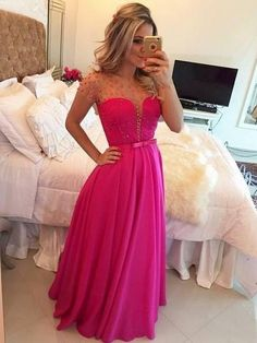 Chic Prom Dresses Fuchsia Floor-length Sexy Long Prom Dress/Evening Dress JKL345