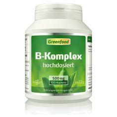 Greenfood B-Komplex 50, alle B-Vitamine, hochdosiert, 120 Kapseln - macht gute Laune