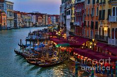 Dusk on the Grand Canal in Venice. Photographed from the Rialto Bridge by David Smith. This fine art image will make a fabulous gallery wrap, acrylic or metallic print. Click on the image to place your order with worldwide shipping. Enjoy!