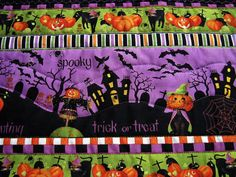 Halloween quilted table runner by KellettKreations on Etsy, $20.00