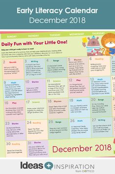 This holiday season, give parents the gift of early literacy activities they can do at home with their little ones. The December calendar includes celebrations, craft ideas, math and science… Home Activities, Reading Activities, Literacy Activities, Before Kindergarten, December Calendar, Reading Themes, Reading At Home, Book Suggestions, Early Literacy