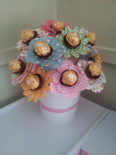 Mother Birthday Gifts Our ferrero rocher bouquet The kids and I made this for grandmas birthday ♥ I&. Diy Bouquet, Candy Bouquet, Bouquets, Mother Birthday Gifts, Valentine Day Gifts, Birthday Presents For Grandma, Grandma Birthday, Valentines, Craft Gifts