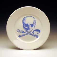 skull and cross-utensils dessert plate in BLUE