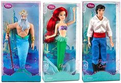 """Wow - Amy's been asking for Eric and the """"daddy""""... this is awesome!!    Disney Princess Little Mermaid ARIEL, KING TRITON,PRINCE ERIC Ken barbie doll"""