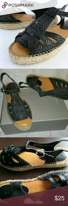 """New Hinge Aria Espadrille platform sandal snake... Snake skin design. New tried on around house only.small marking in foot bed see pic only ink/impression no damage.   Hinge 'Aria' Espadrille Platform Woman's Sandal A jute-trimmed platform grounds a standout sandal in textured leather and shaped with a huarache-inspired silhouette. - 1"""" platform (size 8.5) - Adjustable strap with buckle closure - Leather upper snakeskin look/synthetic lining with padded foot bed/rubber sole hinge Shoes…"""