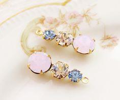 Swarovski Rose Opal Crystal Light Sapphire Three Rhinestone Drops Teardrop Brass Settings 23mm – 2 by alyssabethsvintage on Etsy