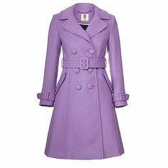orla kiely wool twill trench coat, violet