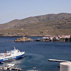 A rare moment: Superferry II at Chora Andros for Orthodox Easter celebrations.
