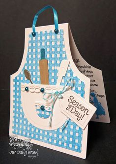 Stamps - Our Daily Bread Designs Gingham Background, Baking Tag Sentiments, Happy Marriage Recipe. Exclusive Apron and Tools Die, Exclusive Recipe Card and Tags Die Cricut Cards, Stampin Up Cards, Recipe For Happy Marriage, Marriage Recipe, Diy Cards, Your Cards, Shaped Cards, Marianne Design, Mothers Day Cards