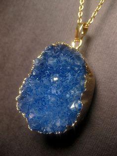 Blue Druzy Necklace  Geode  Crystal Quartz  by FashionCrashJewelry
