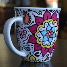 Etsy - Flower Hand Painted Mug