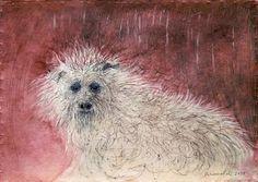"Saatchi Art Artist Remigiusz Dobrowolski; Painting, ""Sad dog- rainy day..."" #art"