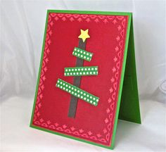 5 Merry Christmas card tree red green by QuirkynBerkeleyCards, $15.00