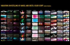 We're doing color scripts in Lisa Keene's class. Here are some different color ideas over the story of Hansel and Gretel. We could redo the . Color Script, Animation Background, Color Studies, Visual Development, Movie Photo, Color Theory, Short Film, Light In The Dark, Color Inspiration