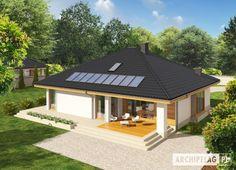 Projekt domu Flori III (wersja A) economic Home Design 2017, Home Garden Design, Bungalow House Design, Modern House Design, Small House Garden, Rural House, Kerala House Design, Kerala Houses, Brick Architecture