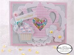 Created using Tea For Two, Sending Sweet Thoughts, Pretty Posies, Hand Stamped by,  Tea For Two Sweet Cuts, Sending Sweet Thoughts Sweet Cuts, Pretty Posies Sweet Cuts, Cookie Dough Sequins, Cotton Candy Sequins, Marshmallow Sequins, Robin Egg Baker's Twine - www.papersweeties.com!  Designed by Debbie Marcinkiewicz.