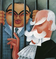 Vanity Fair illustration of Al Capone and Chief Justice Charles Evans Hughes by Miguel Covarrubias, October 1932