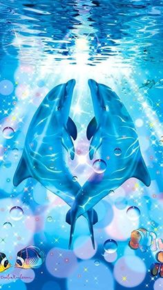 🐬Dauphins 📱 Fond d'écran cellulaire no 40 🐬 Dolphin Painting, Dolphin Art, Cute Baby Animals, Animals And Pets, Dolphins Tattoo, Underwater Art, Bottlenose Dolphin, Wale, Animal Totems