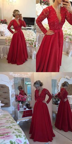 Long Prom Dress Popular Plus Size Formal Red Lace Evening Dresses For Teens