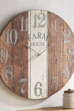 your home a farmhouse-style makeover—without all the haymaking and animal-tending. Pier exclusive, oversized Farmhouse Wall Clock boasts an antiqued finish and is a rustic reminder that it's always time for great style. Farmhouse Wall Clocks, Farmhouse Decor, Farmhouse Style, Farmhouse Ideas, Pallet Clock, Diy Clock, Clock Ideas, Diy Wall Clocks, Large Wall Clocks
