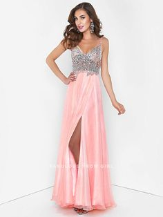 A-line V-neck Rhinestone Sleeveless Floor-length Chiffon Prom Dresses /  Evening