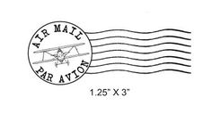 This realistic postmark with the image of a biplane is the perfect way to stamp your outgoing air mail, or if you are a lover of mail art