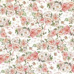 Roses and Ribbons Pastel Print Paper ~ Rossi Italy ~ 2013