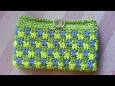 How to Crochet A Phone Pouch (Deckered Double Crochet) - YouTube