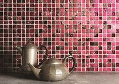 NEW - Vibrant pink Obsession mosaic tiles will have you hooked. Inject a bit of fun and colour into any space with a feature area of splashback. By Original Style.