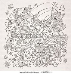 Doodles abstract decorative Easter vector sketch background