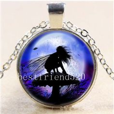 Night Fairy With Moon Cabochon Glass Tibet Silver Chain Pendant Necklace #Handmade #Pendant
