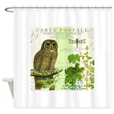 modern vintage french woodland owl Shower Curtain