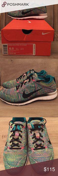 NIB Nike Free 5.0 FlyKnit-Sold Out! Size 6.5 New in box, these are some GORGEOUS Nike Free 5.0 TR Flyknits, size 6.5 in Radiant Emerald/Black/Pink Pow. Beautiful mix of colors with emerald green inner sock liner and pull on tabs. Nike Shoes Athletic Shoes