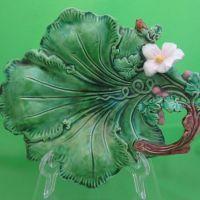 Lovely Antique Majolica Green Leaf Server