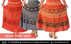 This is online indian Printed Cotton Mandala Elephant Print Skirt at Handicrunch