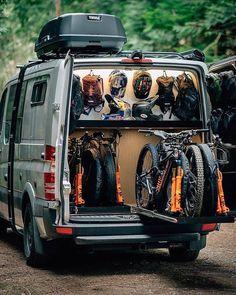 Cargo Trailer Camper Conversion, Sprinter Van Conversion, Camper Van Conversion Diy, Vw T5, Bike Storage In Van, Camper Storage, Vw Crafter Camper, Ford Transit Camper, Bus Camper