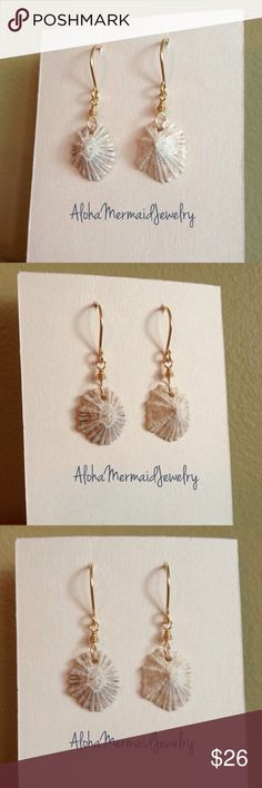 Opihi Seashell Gold Earrings Hawaii Beach Nautical Handmade with Love, by me! NWT. These 14k Gold filled wire and Hawaiian opihi shell earrings are very lightweight. Neutral cream, light brown and grey colors make these a great pair of earrings for any outfit. MADE TO ORDER - may vary slightly from photos.  I find all my shells here on the beaches and in the oceans on the north shore of Oahu, Hawaii!! PRICE FIRM!! No Trades! AlohaMermaidJewelry Jewelry Earrings